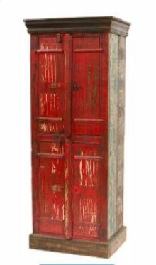 Red Painted Bathroom Cabinet