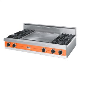 "Pumpkin 48"" Open Burner Rangetop - VGRT (48"" wide, four burners 24"" wide griddle/simmer plate)"