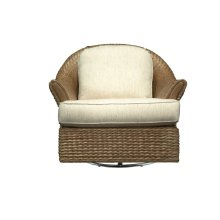 Swivel Glider, Rattan Body in Antique Palm Finish only. With Upholstered Cushions.
