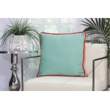 "Outdoor Pillow L1589 Coral/aqua 20"" X 20"" Throw Pillow"