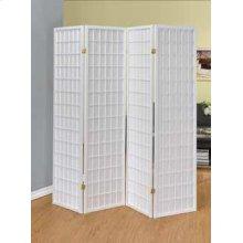 White Four Panel Folding Screen