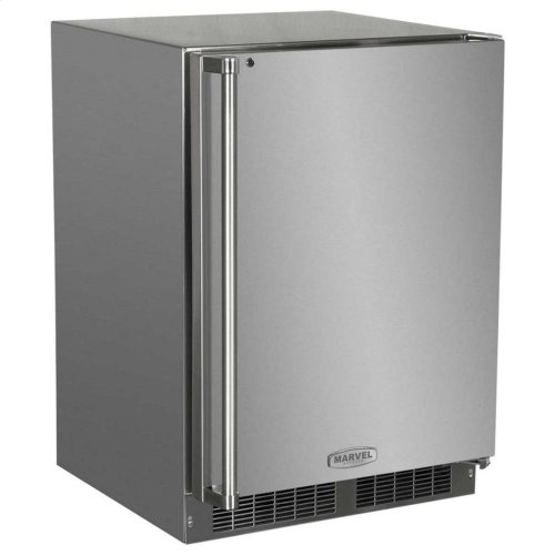 "24"" Outdoor Refrigerator with Drawer and Door Storage - Marvel Refrigeration - Solid Stainless Steel Door with Lock - Left Hinge"