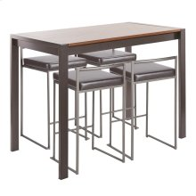Fuji 5-piece Counter Set - Antique Metal, Walnut Wood, Brown Pu