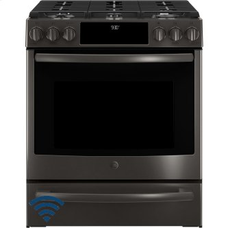 """GE Profile 30"""" Gas Slide-In Front Control Convection Range with Storage Drawer Black Stainless Steel PCGS930BELTS"""