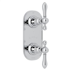 """Polished Chrome Arcana Trim For 1/2"""" Thermostatic/Diverter Control Rough Valve with Arcana Ornate Metal Lever"""