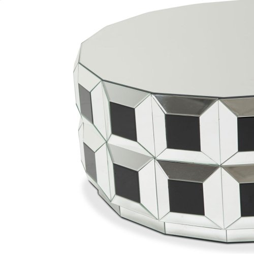 Round Silver Prism Mirrored Cocktail Table