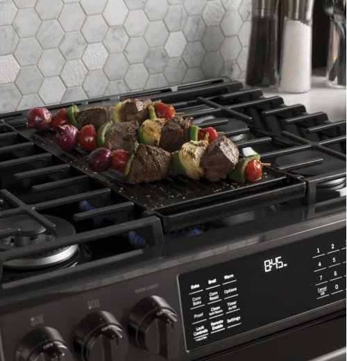 "GE Profile™ Series 30"" Slide-In Front Control Gas Double Oven Convection Range"