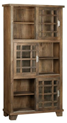 Bengal Manor Mango Wood Sliding Door 3 Tier Bookcase