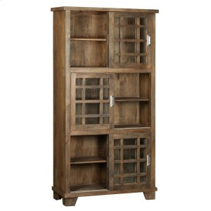CRESTVIEW COLLECTIONSBengal Manor Mango Wood Sliding Door 3 Tier Bookcase