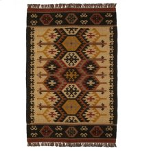 Tan Multi Color Kilim Pattern 5'x8' Rug.