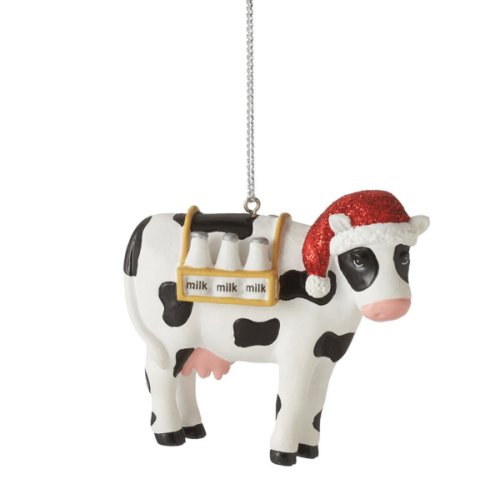Cow with Santa Hat Ornament.