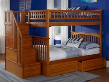 Columbia Staircase Bunk Bed Full over Full with Raised Panel Bed Drawers in Caramel Latte