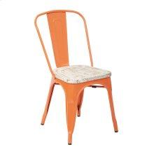 Bristow Metal Chair With Vintage Wood Seat, Orange Frame & Pine White Finish Seat, 2 Pack