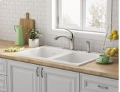 Quince 33x22-inch Double Bowl Cast Iron Kitchen Sink - 4 Hole  American Standard - Brilliant White