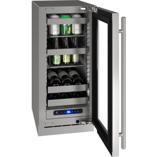 """5 Class 15"""" Beverage Center With Stainless Frame (with Lock) Finish and Left-hand Hinged Door Swing (115 Volts / 60 Hz)"""