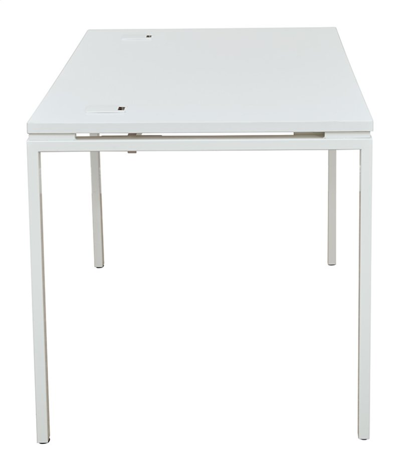 60 Writing Desk With White Laminate Top And Finish Metal Legs