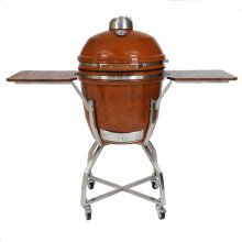 "Heat 19"" Ceramic Kamado Grill with Cart, Shelves and Access. Package"