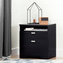 Nightstand with Drawers and Cord Catcher - Black Onyx
