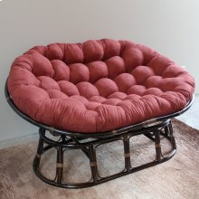 Bali Rattan Mamasan Double Papasan Chair with Microsuede Plush Cushionss - Walnut/Red Wine