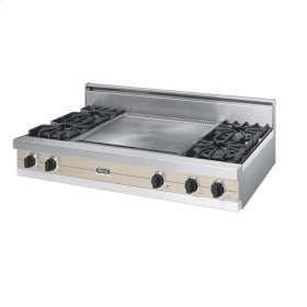 "Taupe 48"" Open Burner Rangetop - VGRT (48"" wide, four burners 24"" wide griddle/simmer plate)"