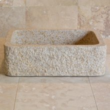 Farmhouse Sink With Chiseled Apron, 8 Inch Depth Beige Granite