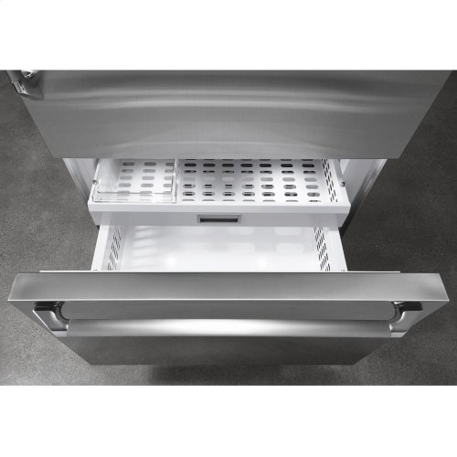 """Discovery 36"""" Integrated Bottom Freezer Refrigerator with Bottom Compressor, in Stainless Steel with Epicure Style Handle - Left Hinge"""
