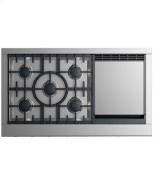 "Gas Cooktop 48"", 5 burners with griddle"