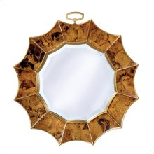 Tiger Penshell Inlaid Mirror in Sunburst Motif, Beveled Glass, Brass Accents
