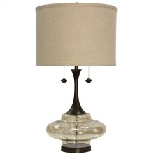 Weimer Grand Scale Plated Glass & Metal Base Table Lamp with Twin Pull Chains & Hardback Shade
