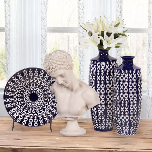 Navy Blue and White Textured Ceramic Vase, Large