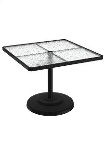 "Acrylic 36"" Square KD Pedestal Dining Umbrella Table"