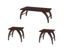 Emerald Home Emma 3 Pack Occasional Tables (1 Cocktail & 2 End Tables) Dark Walnut T300-3pk
