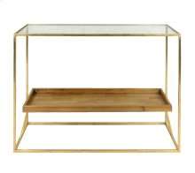 2-tier Gold Console Table, Wood, Glass