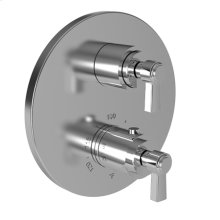 "White 1/2"" Round Thermostatic Trim Plate with Handle"