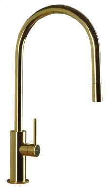 Kitchen Faucet With Pull Out Spout, Polished Shiny Solid Stainless Steel Made To Order In Gold Pvd Finish