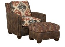 Steamboat Leather/Fabric Chair, Steamboat Leather/Fabric Ottoman