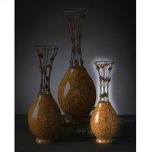 Small Vine Metal & Ceramic Vase