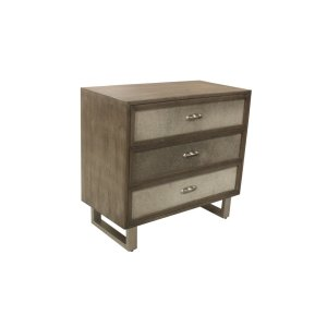 CRESTVIEW COLLECTIONSTheodore 3 Drawer Grey Cowhide Chest