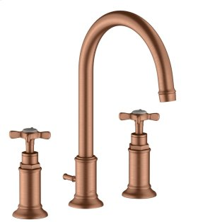 Brushed Red Gold 3-hole basin mixer 180 with cross handles and pop-up waste set