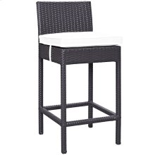 Convene Outdoor Patio Upholstered Fabric Bar Stool in Espresso White