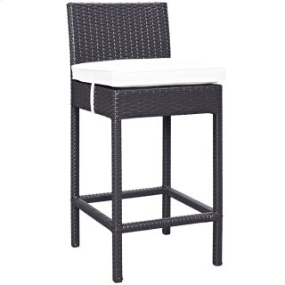 Convene Outdoor Patio Fabric Bar Stool in Espresso White