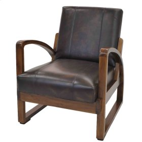 Leska Leather Accent Chair, Light Brown