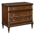 ESPRESSO FINISHED NEOCLASSICAL MAHOGANY SMALL CHEST OF D RAWERS WITH VINTAGE SILVER BRA Product Image
