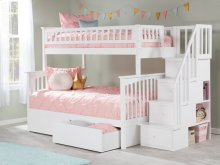 Columbia Staircase Bunk Bed Twin over Full with Urban Bed Drawers in White