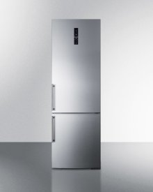 European Counter Depth Bottom Freezer Refrigerator With Stainless Steel Doors, Platinum Cabinet, Factory Installed Icemaker, and Digital Controls for Each Section\n