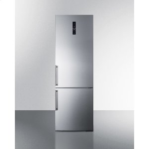 SummitEuropean Counter Depth Bottom Freezer Refrigerator With Stainless Steel Doors, Platinum Cabinet, Factory Installed Icemaker, and Digital Controls for Each Section
