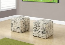 OTTOMAN - 2PCS SET / JUVENILE / VINTAGE FRENCH FABRIC