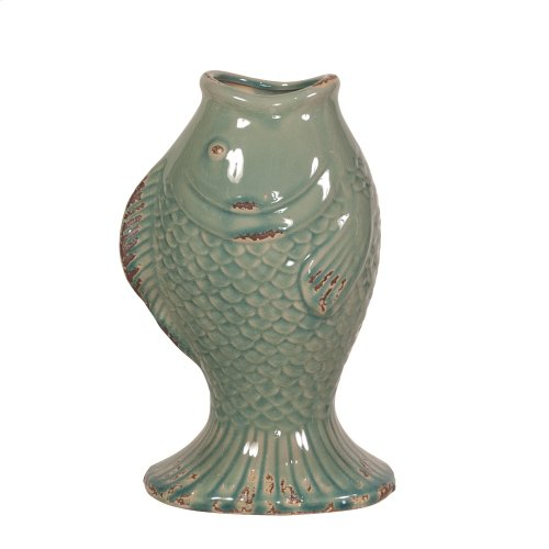 Sea Blue Glaze w/ Rustic Accents Ceramic Fish Vase