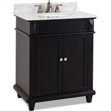 "30"" vanity with sleek black finish, clean lines and tapered feet with a preassembled top and bowl."