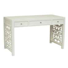 White Fretwood Side Panel Desk
